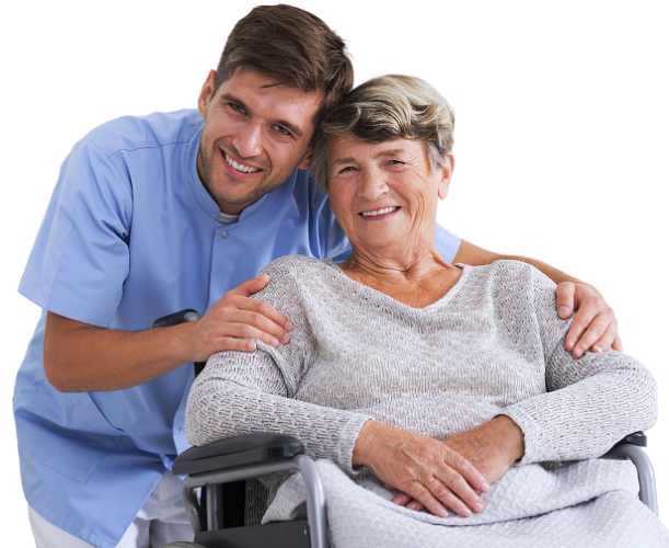 staff and elderly woman on wheelchair smiling